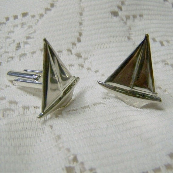 Silver Sailboat Cuff Links, Sailing Cuff Links, Sailboat cufflinks, Sailing, Sloop, Day sailer, silver plated sailboat, sailor jewelry