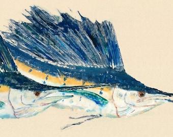 Smooth Sailin' - Gyotaku Fish Rubbing - Limited Edition Print (33 x 14.5)