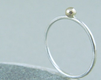 Gold Nugget Ring / Stacking Ring / Gold and Silver Ring Stacked Ring / Wedding Ring