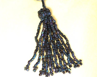 1920's Beaded Tassels Original Blue Iris Quantity Excellent Unused Condition Old Store Stock