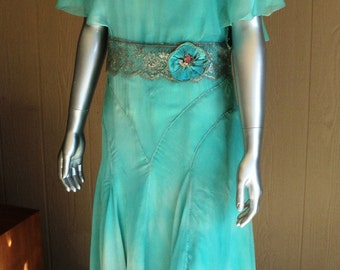 Late 1920's Silk Chiffon Dress Robins Egg Blue Silver Metallic Lace sash with 1920s Ribbonwork Ribbon Flower