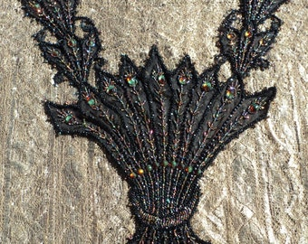 ON HOLD DNP Exquisite Large Antique Beaded Dress Collar Panel Bodice French Cabachon Applique Victorian Trim