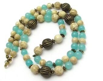 Vintage Necklace, Aqua Blue Beaded Necklace, Vintage Beads, Marbled Tan, Necklace Strand, Vintage Glass, Long Antiqued Goldtone