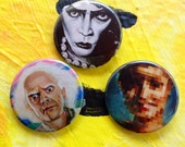 Retro Nostalgia Fun Pack 3 Pins 1 1/2 inches Doc Brown  Frankenfurter Laura Palmer Twin Peaks Back to the Future Rocky Horror Picture Show