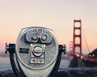 San Francisco California Print, Golden Gate Bridge Bokeh, San Francisco Art, Viewfinder, Bokeh Sunset SF Lights, Travel Photography