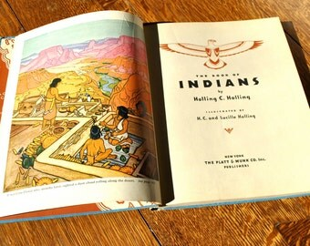 Vintage Indian book 1935 first edition stories of North American Indians very colorful