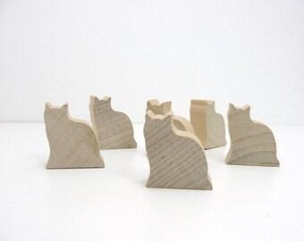 Wooden cat cutout set of 6