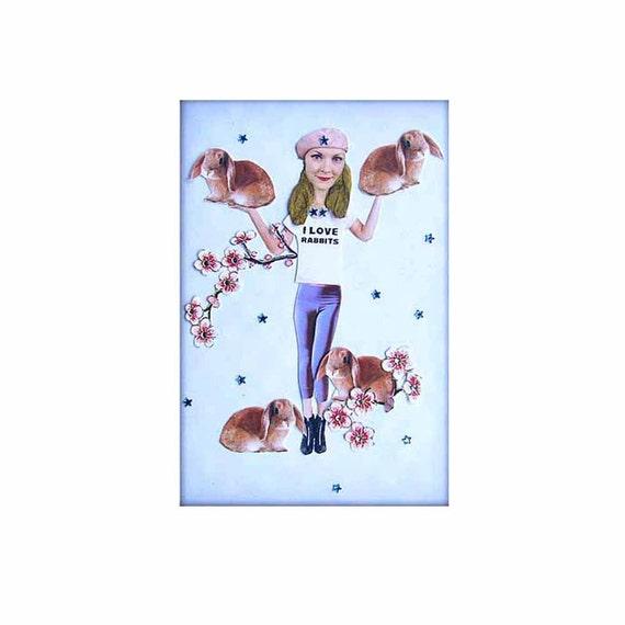 rabbit bunny portrait girl blue tagt team love animals pet original collage home decor shabby chic art