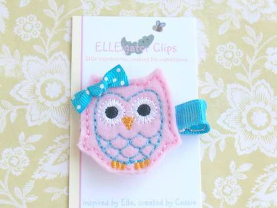 Emme the Owl- Pink and Turquoise Felt Hair Clip - Girls Hair Clips / Felt Owl / Woodland / Embroidered