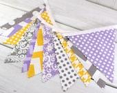 Bunting, Banner, Fabric Flags, Baby Girl Nursery Decor, Photography Prop, Garland - Lavender, Purple, Gray, Yellow, Grey, Chevron, Damask