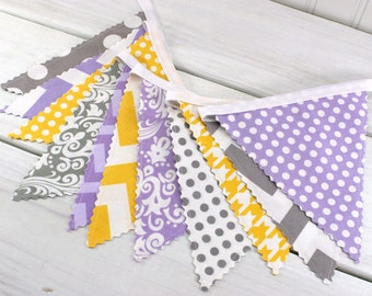 Bunting, Banner, Fabric Flags, Baby Girl Nursery Decor, Photography Prop, Garland - Lavender, Purple, Gray, Yellow, Grey, Chevron, Damask