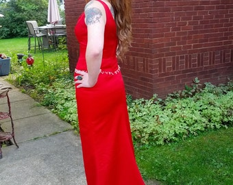 Vintage Cherry Red Crystal Bead Ladies Evening Gown Dress Size X small