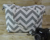Petite Size Camera Bag DSLR / Purse with  removable insert  / cool  Purse for Women  in Grey Chevron Stripe / by Darby Mack