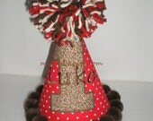 Birthday Party Hat Sock Monkey First Birthday Party Hat - Customized - Personalized