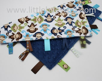 Navy Monkey Minky with Navy Minky Dot Tag Blanket  Ribbon Lovey - Personalized