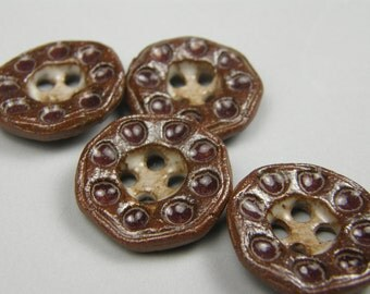 ceramic buttons--textured--deep burgundy