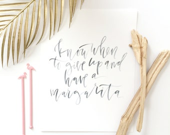 Calligraphy Happy Hour Printable //  Margarita Quote