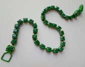 SALE **** Vintage Rhinestone Tennis Bracelet - Green Rhinestone Bracelet