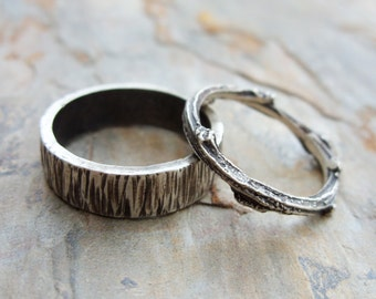 Personalized Matching Tree Bark and Twig Wedding Band Set in Sterling Silver Wood Grain