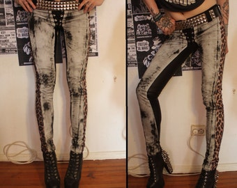 Kissin' Bombs stained leopard denim pants
