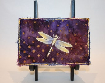 Dragonfly quilted fabric postcard