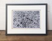 Paris map digital download, Paris art, Paris decor, Paris print