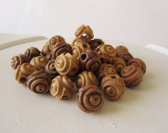 Carved Olivewood Beads, 25 pcs