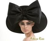 Black Couture Hat, Avant garde hat, Fashion hat, black hat with bow, Derby hat, Dressy Hat