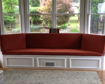 Custom Bay  Window Seat Cushion, Trapezoid Cushion with Cording,  Bench Seat Cushion Custom Cushion Cover