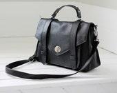 Black leather handbag - leather messenger bag, black leather purse, ALEX - black leather bag crossbody bag