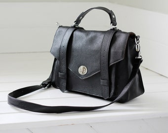 Black leather handbag - leather messenger bag, black leather purse, ALEX - black leather bag crossbody bag