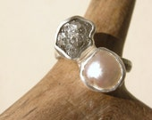 Duo Engagement Ring with Rough Diamond (1. 45 ct - 2.05ct weight) and Baroque Pearl, Sterling Silver and Pure silver