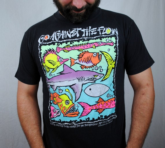 Vintage neon christian go against the flow tee shirt