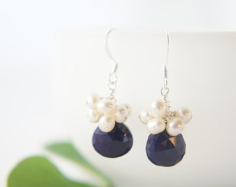 Royal purple chalcedony and freshwater pearls dangling earrings, wedding, bridesmaid, gift