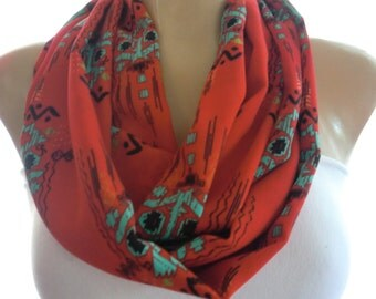 Navajo print red  infinity scarf, Necklace scarf with Indigenous pattern , Red Aqua blue and black-Tube version-Last one