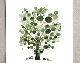 Green Tree of Life - Giclee Art Print Reproduction of Watercolor Painting - Trees of Life Collection