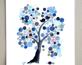 Wedding Gift Anniversary Gift - MOONY MIDNIGHT GLAZE - Giclee Art Print Reproduction of Watercolor Painting - Trees of Life Collection