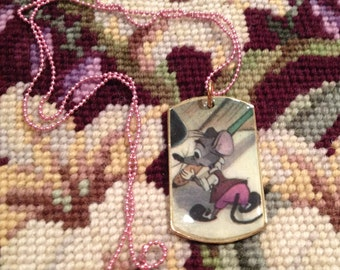 Disney's Ben and Me Amos the Mouse Gold Dog Tag Necklace