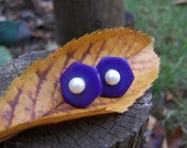 Vintage Purple Button Post Earrings with Pearl Accent