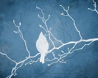 Winter Blue Home Decor Bird Wall Art 11 x 14 Print, Cardinal Bird on a Branch, Nature Silhouette Print  (93)