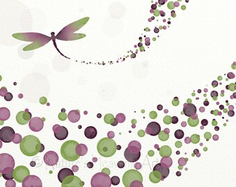 Burgundy Mauve Home Decor Dragonfly Art Print 8 x 10, Nature Wall Art, Green Polka Dot Girls Room Art (270)
