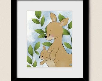 8 x 10 Kangaroo Babys Room Decor, Childrens Art Print, Girls Nursery Wall Art for Kids Wall Decor (337)