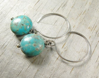 Gorgeous Blue-Green Turquoise Earrings - Canyon Earrings - Handcrafted