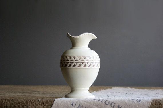 Vintage White Vase with Laurel Leaves, Large, Red Wing Pottery, Leaf Design