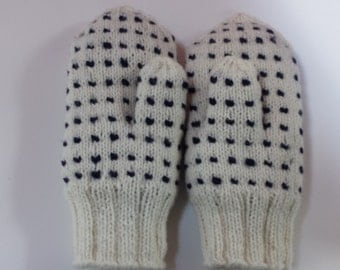 35% OFF SALE Handknit Pure Wool Thrummed mittens -Warm and Soft- Adults Unisex Size Small/ Med