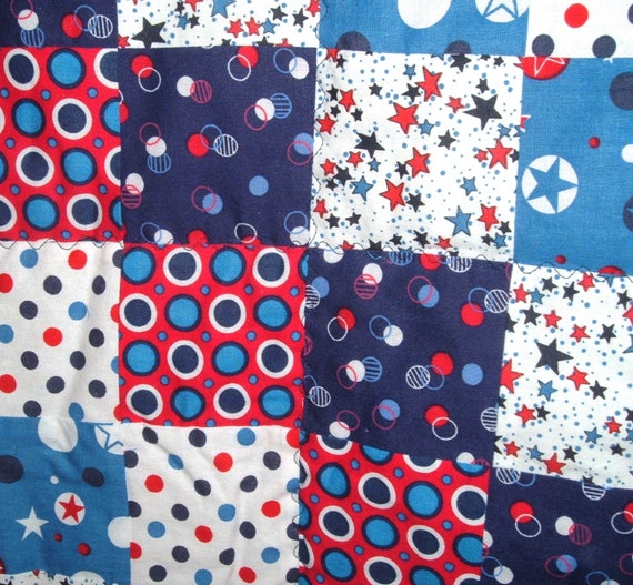 Quilt Red, White and Blue With Stars and Dots for Boys or Girls