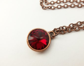 Copper Ruby Birthstone Necklace July Birthstone Antiqued Copper Necklace Crystal