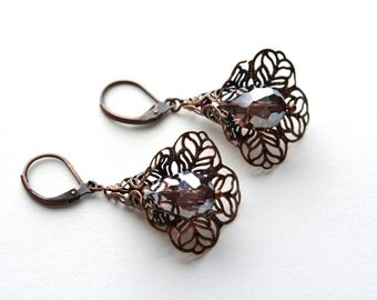 Amethyst Dangle Earrings Antiqued Copper Flower Filigree Whimsical Leverback Sparkly Purple Victorian