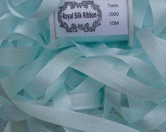 Pure Silk Ribbon 7 mm 1/4 inch wide 10 yd  Seafoam Color