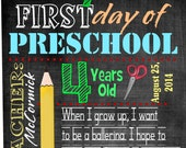 First day of preschool sign, chalkboard subway sign, digital download, personalized school photo prop, printable school sign, back to school
